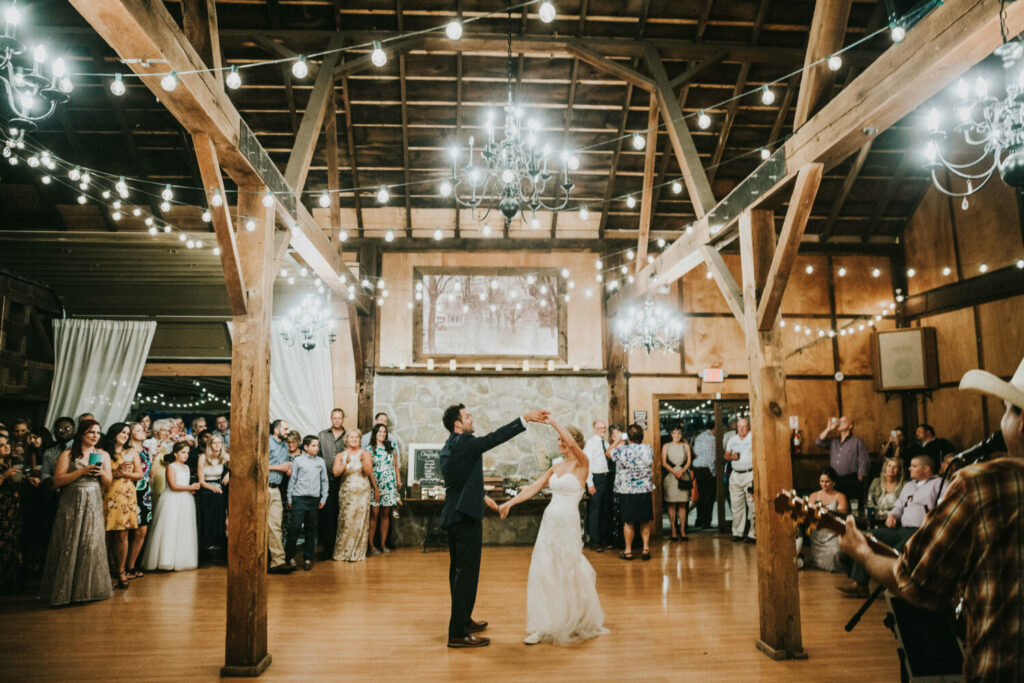 wedding party dance in barn